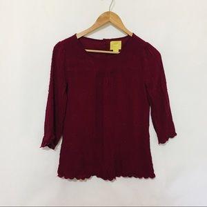 Maeve Anthropologie 3/4 sleeve burgundy blouse